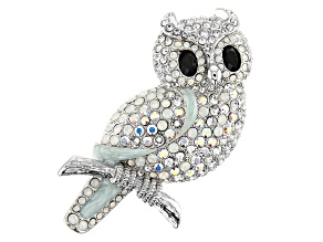 Multi-color Swarovski Elements ™ Crystal Silver Tone Owl Brooch