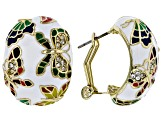 White Crystal With Multi-Color Enamel Gold Tone Butterfly Earrings