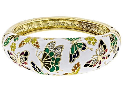 White Crystal With Multi-Color Enamel Gold Tone Butterfly Cuff