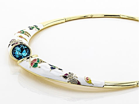 Blue and White Crystal With Multi-Color Enamel Gold Tone Butterfly Collar