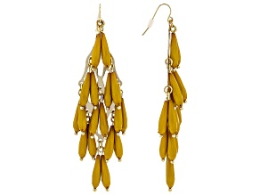 Yellow Elongated Pear Shape Bead Earrings
