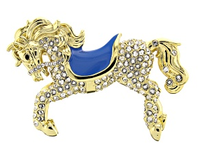 White Swarovski Elements ™ 14K Gold Over Base Metal Horse Brooch
