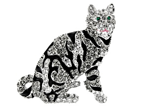 Multi-Color Crystal Silver Tone Bengal Cat Brooch