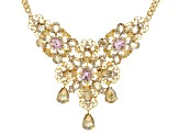 Crystal Gold Tone Floral Necklace