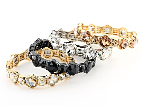 Multi-Color Crystal Tri-Color Stretch Bracelet Set Of 4