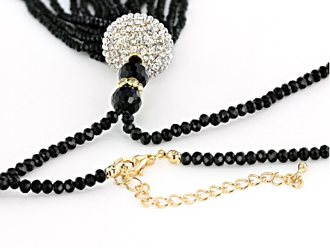 Black &  Green Iridescent Beads Gold Tone Tassel Jewelry Set