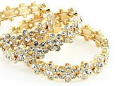 White Crystal Gold Tone Set Of 6 Flower Stretch Bracelet