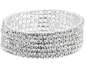 White Crystal, Silver Tone Set of 6 Stretch Bracelets