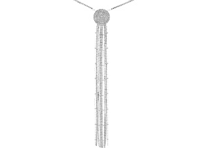 White Crystal Silver Tone Pave Circle Necklace With Tassel