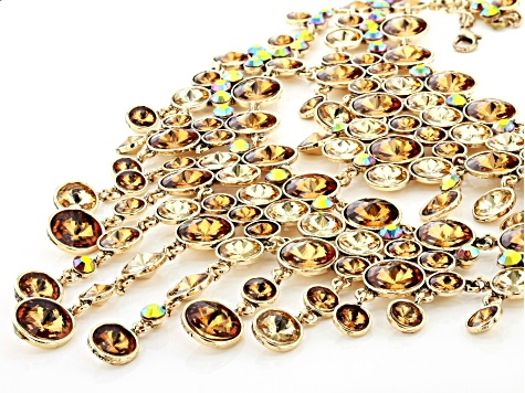 Gold Tone Multi-Color Crystal Statement Necklace