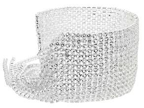 White Crystal Sliver Tone Graduated Fringe Bracelet