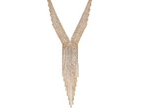 White Crystal Gold Tone Graduated Fringe Necklace
