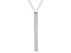 White Crystal Silver Tone Fringe Necklace