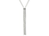 White Crystal  Sliver Tone Fringe Necklace