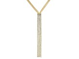 White Crystal Gold Tone Fringe Necklace