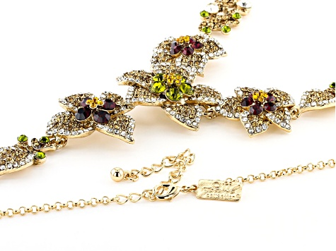 Multi-color Crystal Gold Tone Floral Necklace & Earring Set