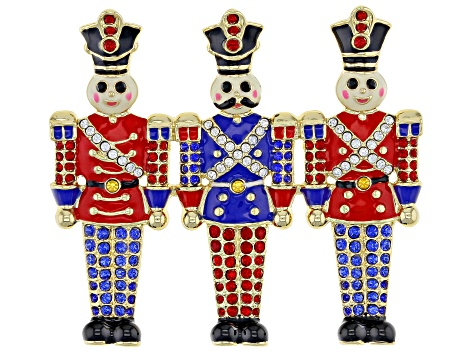 Multi-color Crystal Gold Tone Toy Soldier Brooch