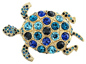 Multi-color Crystal Gold Tone Turtle Brooch