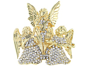 White Crystal 14K Gold Over Base Angel Brooch