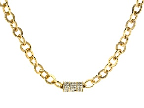 White Crystal Gold Tone Pave Chain Necklace