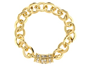 White Crystal Gold Tone Bracelet With Pave Barrel