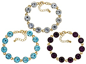 Multi-color Crystal Gold Tone Bracelet Set Of 3