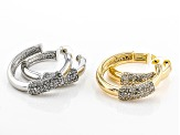 Pave White Crystal Gold & Silver Tone Hoop Earrings Set of 2