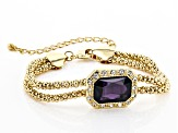 Purple And White Crystals Gold Tone Necklace, Bracelet and Earring Set