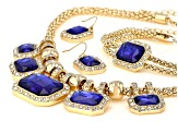 .Blue And White Crystal Gold Tone Necklace, Bracelet and Earring Set