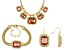 Pink And White Crystal Gold Tone Necklace, Bracelet and Earring Set