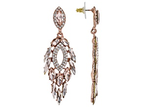 Crystal Rose Tone Peacock Feather Earrings