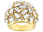 Clear Crystal Gold Tone Statement Ring