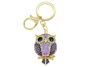 Multi-Color Crystal Gold Tone Owl Keychain