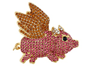 Multi-color Crystal Antiqued Gold Tone Flying Pig Brooch