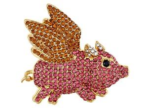 Multi-color Crystal Antiqued Gold Tone Flying Pig Brooch
