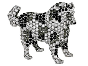 Crystal Silver Tone Australian Shepherd Brooch