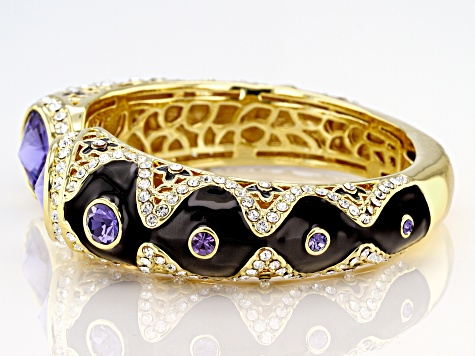 Multicolor Crystal Gold Tone Bangle Bracelet