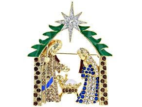 Multi-Color Crystal 14K Gold Over Brass Nativity Scene Brooch