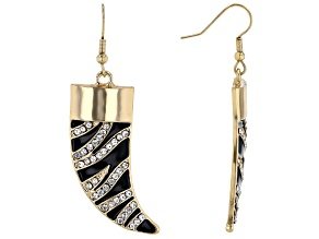 "White Crystal With Black Enamel Gold Tone ""Zebra Print"" Horn Dangle Earrings"