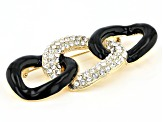 White Crystal Gold Tone Black Chain Link Brooch