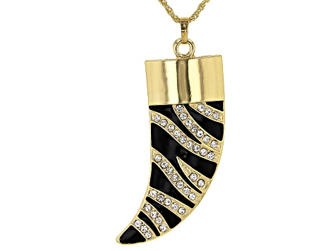 "White Crystal With Black Enamel Gold Tone ""Zebra Print"" Horn Pendant W/ Chain"