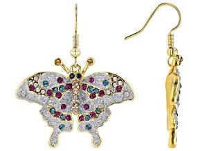 Multi-color Swarovski Elements ™  Shiny Gold Tone Butterfly Earrings