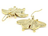 Multi-color Swarovski Elements ™  Shiny Gold Tone Butterfly Earrings
