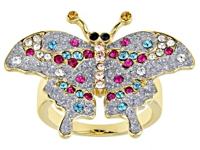 Swarovski Elements ™ Shiny Gold Tone Butterfly Ring