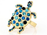 Multi-color Crystal Gold Tone Turtle Ring