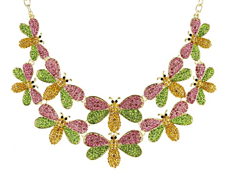 Multi-Color Crystal Gold Tone Bee Necklace