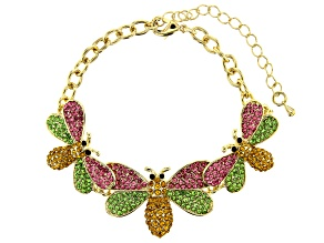 Multi-Color Crystal Gold Tone Bee Bracelet