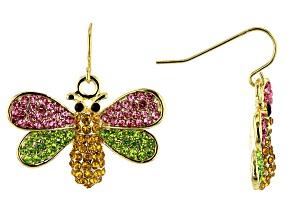 Multi-color Crystal Gold Tone Bee Earrings