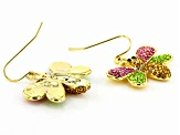 Multi-color Crystal Gold Tone Bee Earrings
