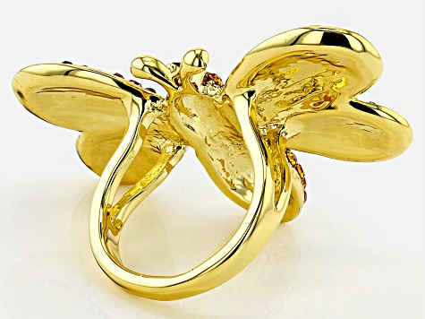 Off Park ® Collection, Multi-color Crystal Gold Tone Bee Ring
